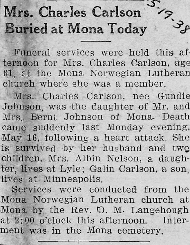 Mrs  Charles Carlson Buried At Mona Today | Lyle Historical