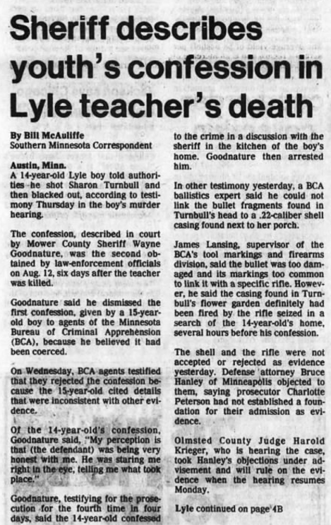 Sheriff describes youth's confession in Lyle teacher's death